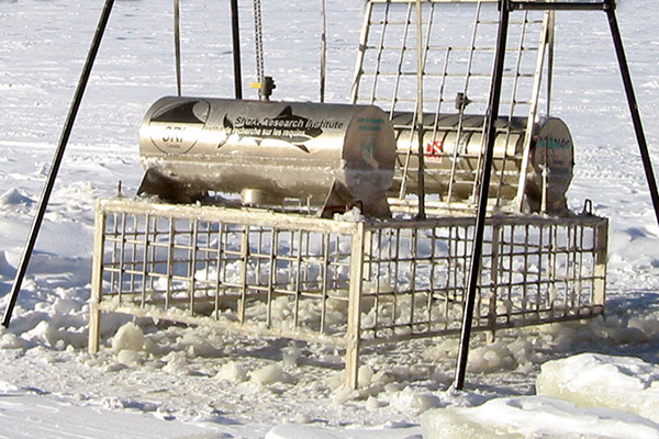 First shark observation cage [Under ice]